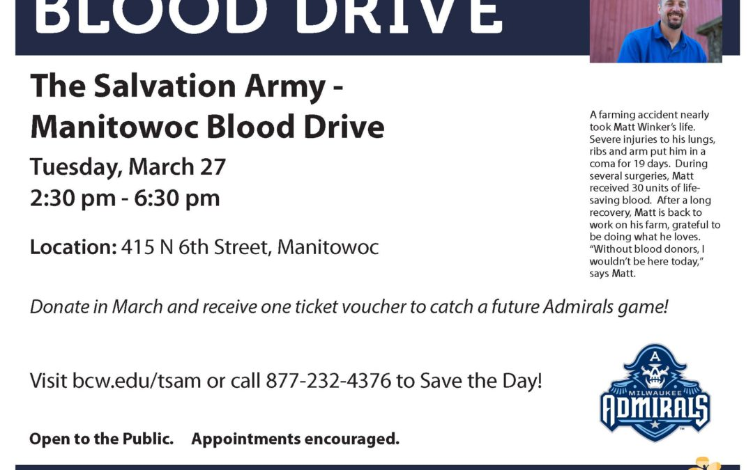 salvation army manitowoc blood drive