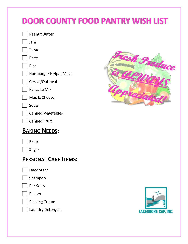 Lakeshore CAP Door Co Food Pantry Wish List