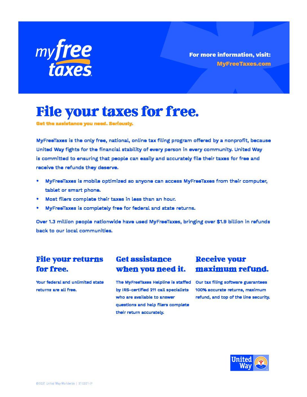 United Way 2020 Free Tax Filing