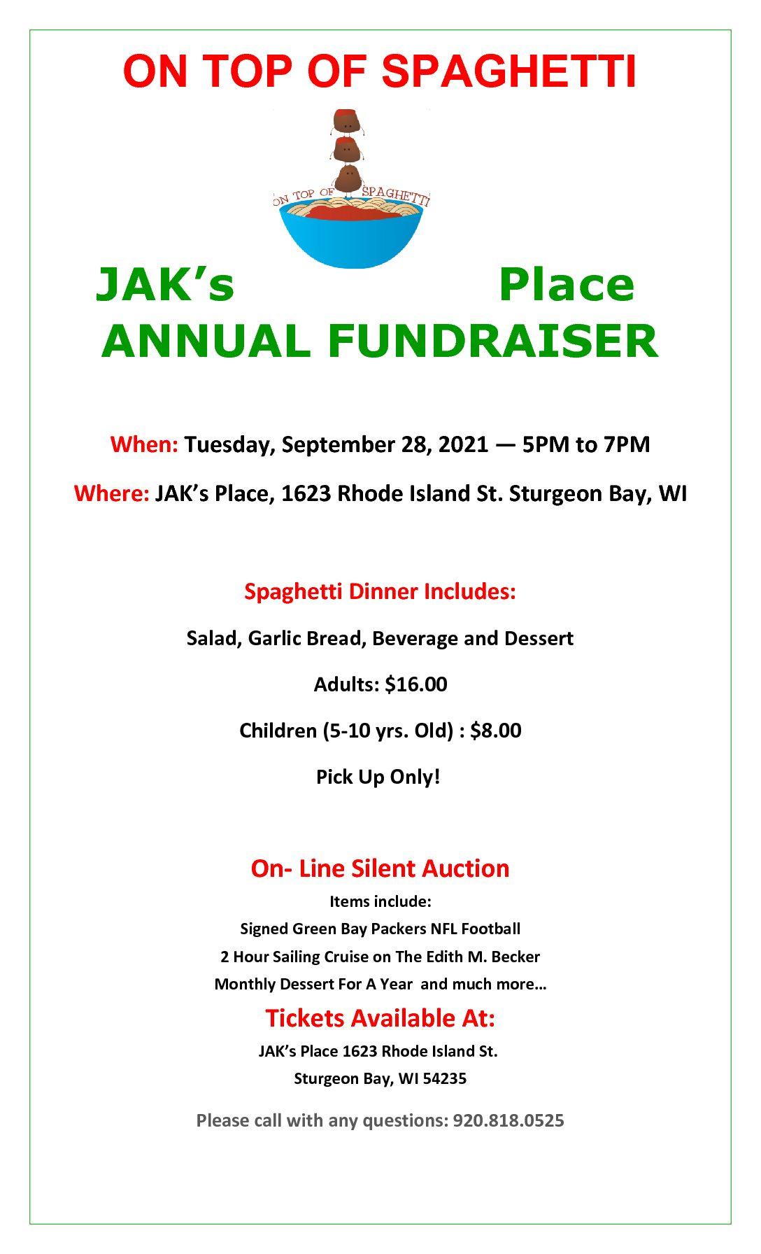 Jak's Place Annual Spaghetti Dinner Fundraiser